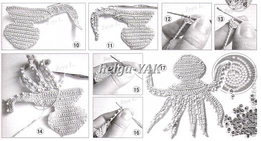 """Все детали связаны крючком из """"Ириса""""(кроме маленьких рыбок-они из мулине), приклеены к фону(ткань) клеем СУПЕР ПВА. фото 15"""