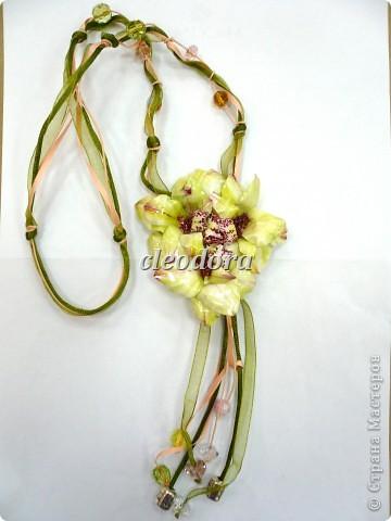 """Украшение """"Орхидеи"""" в технике Sospeso Trasparente, выполненное из двусторонней декупажной карты фото 1"""