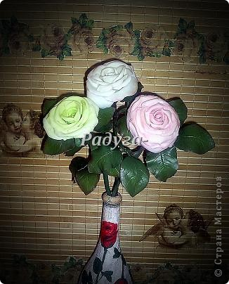 Ну и вот они мои первые розы.Мой первый букет.Наконец я его слепила.Это вторая роза. фото 6