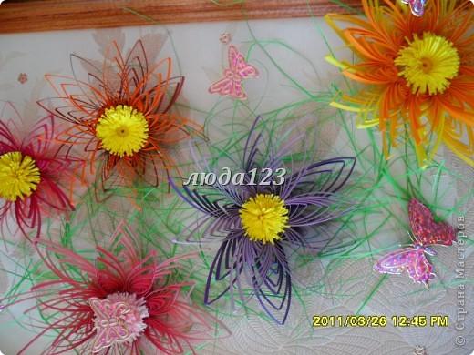 Выставляю картину на ваш суд мастера и мастерицы.Очень люблю делать эти цветы.Они меня просто радуют.Попробовала соломку бумажную очень понравилась.Спасибо за то что вы есть.А вот рамку углублять еще не научилась. фото 2