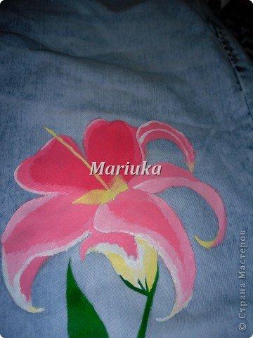 Здравствуйте.На днях мучила свои джинсы вот таим образом))) Взяла краски по ткани(я брала Деколу) и кисточки(лучше брать разного размера для основного рисунка и для мелких деталей) Нарисовала(обычным карандашем) рисунок и на чала его раскрашивать)))Сперва- лепесточки. фото 5