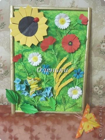 """Картина """"Полевые цветы"""" (оригами) фото 2"""