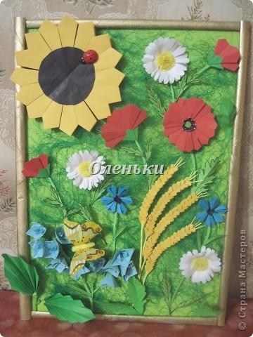 """Картина """"Полевые цветы"""" (оригами) фото 1"""