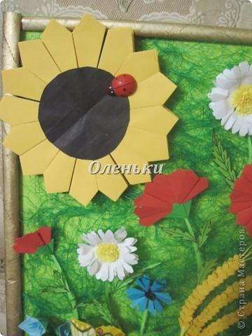 """Картина """"Полевые цветы"""" (оригами) фото 3"""