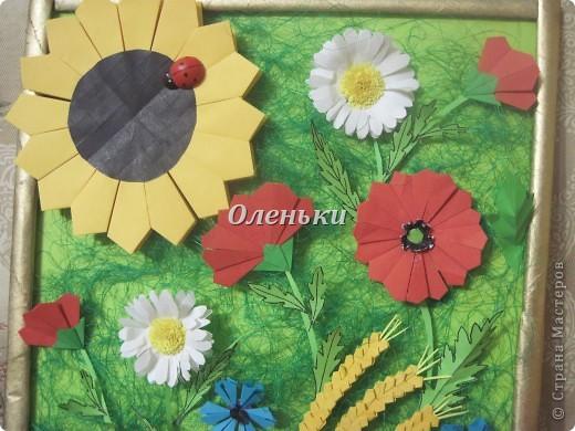 """Картина """"Полевые цветы"""" (оригами) фото 7"""