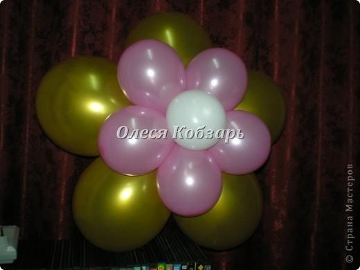 """Сам цветочек. Для него понадобится 5 шаров размером 12"""" и 6 шаров размером 5"""".  фото 7"""