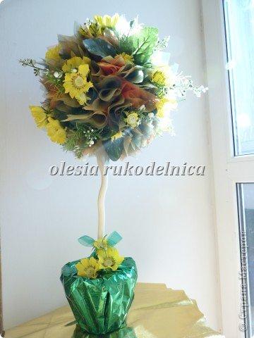 Дерево счастья. Материалы органза, искус.цветы, гипс, декоративная ива. фото 1