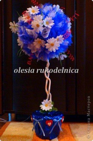 Дерево счастья. Материалы органза, искус.цветы, гипс, декоративная ива. фото 3