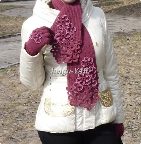 Работа моей дочки. Перчатки связаны спицами из пряжи ELEGANT. Отделка связана крючком. фото 4