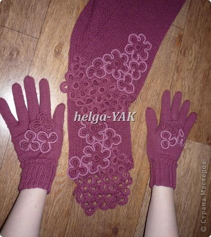 Работа моей дочки. Перчатки связаны спицами из пряжи ELEGANT. Отделка связана крючком. фото 3