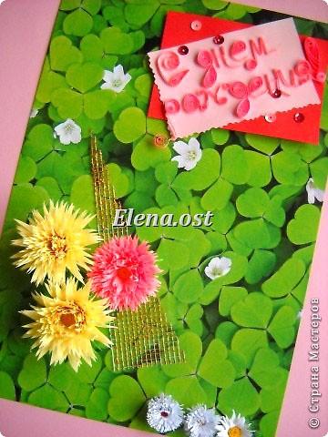 """Игра по скетчу.  Картон из серии """"Флора"""", бумага офисная, сетка. Цветы в технике квиллинг. Открытки для весенних именинников. При копировании статьи, целиком или частично, пожалуйста, указывайте активную ссылку на источник! http://stranamasterov.ru/user/9321 http://stranamasterov.ru/node/136602 фото 2"""