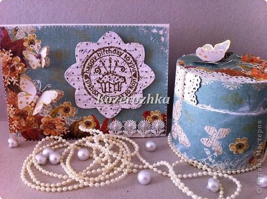 Сделала наборчик (открытка и шкатулка) для девочки подростка. фото 2