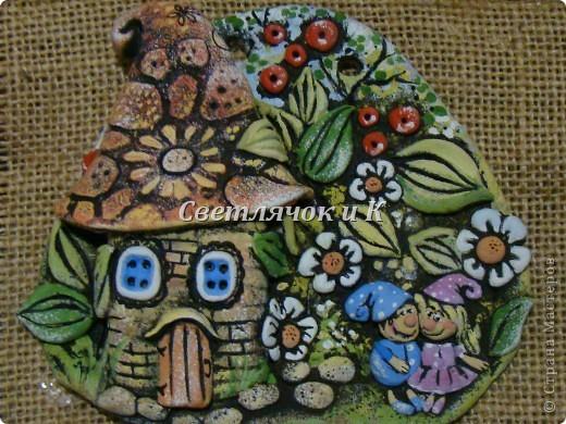 Картина панно рисунок Мастер-класс Лепка Домики для гномиков из теста Гуашь Тесто соленое фото 1