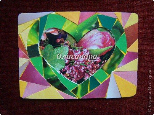 """Очень люблю мозайку, и , даже, пробовала свои силы, украшая коробочки...   http://stranamasterov.ru/blog/34319/438 Подумала, а почему бы также не сделать АТС?  Слоган """"Зеленое сердце природы"""" уже давно вертелся в голове, правда, """"подходящей природы"""" я не нашла... Но,ведь, цветы- тоже частичка природы. Поэтому они заняли почетное место в """"зеленом сердце""""... Хочется, чтобы все серии ,как-то, отличались друг от друга...Хотя, понимаю, что опять получился примитивизм... Мозайка сделана из открыток, цветочный фон, находящийся внутри сердца ,слегка """"утоплен""""... Зазоры между частицами мозайки делала намеренно...Мне хотелось, чтобы были видны желтые прожилки... ******************************************** По-прежнему, пытаюсь отдать долги...  Мои милые """"кредиторы""""! Я не буду Вас называть... Потому что не уверена, что эта серия всем придется по душе... Буду делать до тех пор, пока Вам что-нибудь не понравится ... и ,пока, я не рассчитаюсь со всеми долгами...Торжественно обещаю...! А если понравится...выбирайте...буду рада! фото 4"""