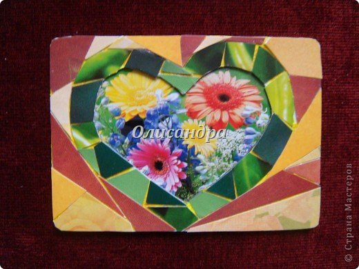 """Очень люблю мозайку, и , даже, пробовала свои силы, украшая коробочки...   http://stranamasterov.ru/blog/34319/438 Подумала, а почему бы также не сделать АТС?  Слоган """"Зеленое сердце природы"""" уже давно вертелся в голове, правда, """"подходящей природы"""" я не нашла... Но,ведь, цветы- тоже частичка природы. Поэтому они заняли почетное место в """"зеленом сердце""""... Хочется, чтобы все серии ,как-то, отличались друг от друга...Хотя, понимаю, что опять получился примитивизм... Мозайка сделана из открыток, цветочный фон, находящийся внутри сердца ,слегка """"утоплен""""... Зазоры между частицами мозайки делала намеренно...Мне хотелось, чтобы были видны желтые прожилки... ******************************************** По-прежнему, пытаюсь отдать долги...  Мои милые """"кредиторы""""! Я не буду Вас называть... Потому что не уверена, что эта серия всем придется по душе... Буду делать до тех пор, пока Вам что-нибудь не понравится ... и ,пока, я не рассчитаюсь со всеми долгами...Торжественно обещаю...! А если понравится...выбирайте...буду рада! фото 6"""