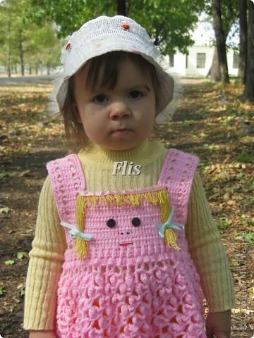 Пряжа Акрил детский, сама пряжа в вязании не понравилась,мозоль на пальце набила пока вывязывала юбку и еще этот звук скрипящий на крючке, бууууеее))) Но внешний вид вроде не плохой)) фото 5