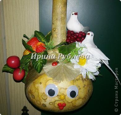 Муженёк да жёнушка. Эти сувениры-обреги  делаются из бутылочной тыквы Лагенарии. Это достаточно большие плоды, размером 35-50см. фото 18
