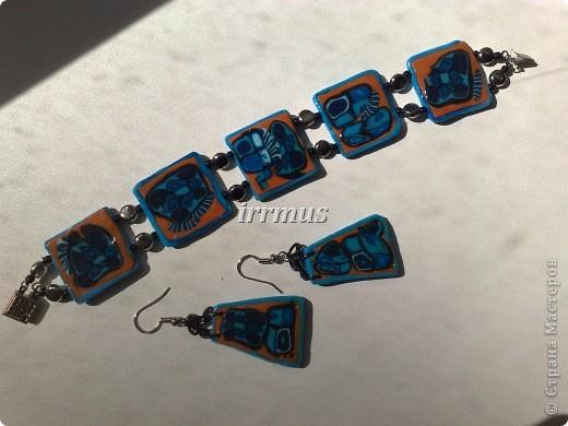 браслет и серьги синие с терракотой фото 1