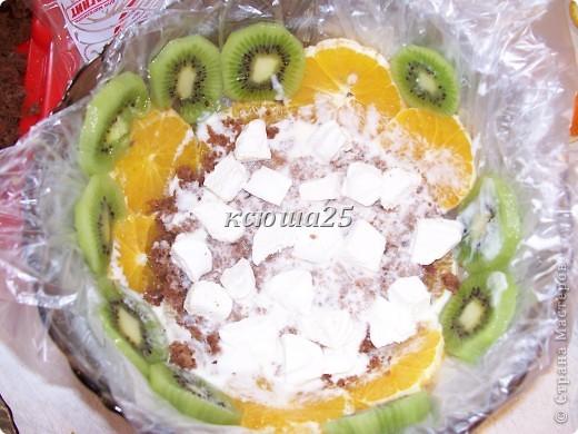 Ингредиенты: Тесто :1 яйцо, 200г маргарина ,300г сахара,Кефир или сметана 300г,      сода 1 ч л, какао 2-3 ст л,      муки столько ,чтоб тесто было густым. Крем: сметана 800г,сахар200г,желатин 30г Фрукты любые по желанию. фото 8