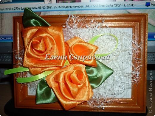 Мастер-класс Шитьё Картина с розами из атласных лент + мини МК Ленты фото 14