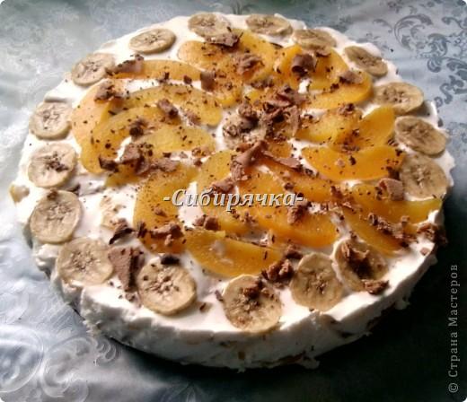 Доброго времени суток! Предлагаю Вам мастер-класс по приготовлению торта со сливочным кремом и фруктами. Для приготовления необходимо: Для теста: - яйцо (6 шт) - сахар (1 ст) - мука (1 ст) - цедра половинки апельсина (лимона) или ванильный сахар для аромата - разрыхлитель-сода (1/2 ч.л.) Для суфле: - желатин (15 г) - сливки (500 г) - сахар (1/2 ст) - фрукты (в моем случае консервированные персики и бананы) - ванильный сахар фото 18