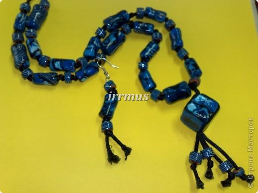 браслет и серьги синие с терракотой фото 2
