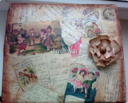 Жила-была коробочка , хранились в ней лекарства.Я решила ее немного преобразить и ...вот что  у меня получилось.  из материалов использовались: картонная коробка, распечатки старых открыток, акриловая краска, бумага, клей ПВА. фото 2