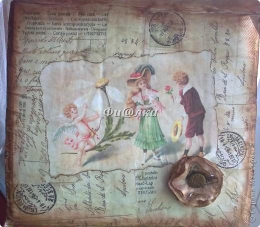 Жила-была коробочка , хранились в ней лекарства.Я решила ее немного преобразить и ...вот что  у меня получилось.  из материалов использовались: картонная коробка, распечатки старых открыток, акриловая краска, бумага, клей ПВА. фото 7