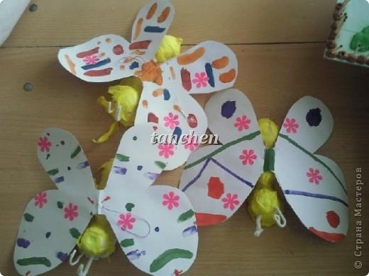 Бабочки, сделанные ребятами 5-6 лет, обклеили бабочки скрученными в шарик гофробумагой фото 5