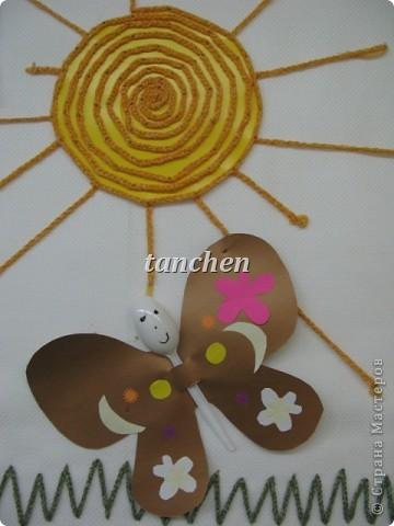 Бабочки, сделанные ребятами 5-6 лет, обклеили бабочки скрученными в шарик гофробумагой фото 7