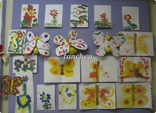 Бабочки, сделанные ребятами 5-6 лет, обклеили бабочки скрученными в шарик гофробумагой фото 4