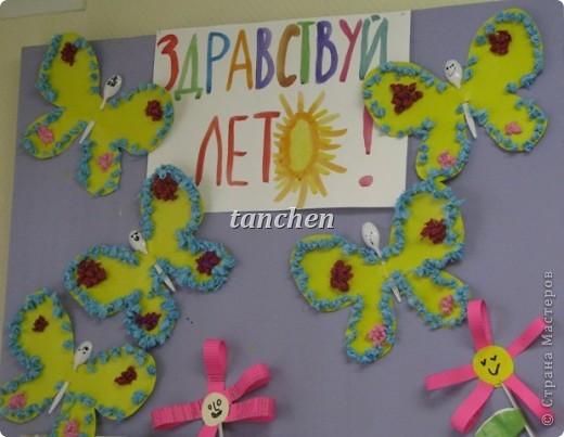 Бабочки, сделанные ребятами 5-6 лет, обклеили бабочки скрученными в шарик гофробумагой фото 1