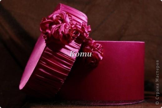 Материал:Стрейч-атлас цвет: фуксия,при разном свете,перелив от розового до фиолетового. Внутри отделка из коричневого атласа. фото 1