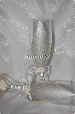 Сделала новые фужерчики, с нанесением серебряных узоров фото 4