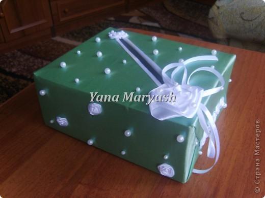 Подготовка к свадьбе продолжается... Вот сотворила я еще одну штуку - банк для денег, то есть для подарочных конвертов=) фото 1