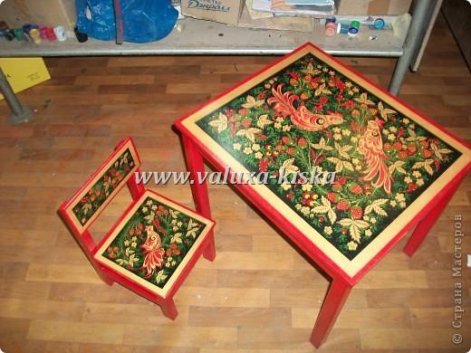 хохлома (детский стул и стол) фото 1