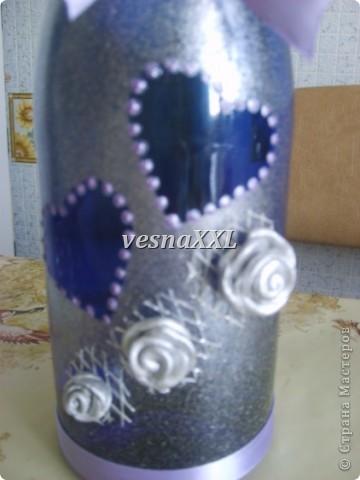 Вот мои первенцы, очень мне понравилось декорировать бокалы и бутылочку! фото 5