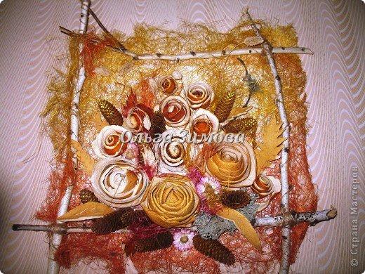 Цветы на панно -сухие апельсиновые корки и корки плодов помело. фото 1