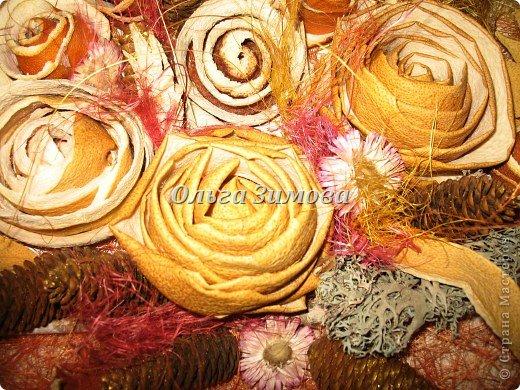 Цветы на панно -сухие апельсиновые корки и корки плодов помело. фото 2