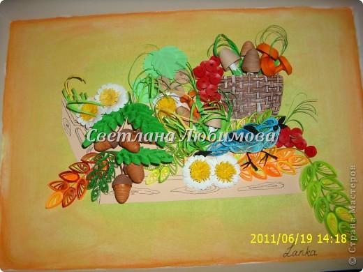 Картина панно рисунок Квиллинг Урожай Бумажные полосы фото 2