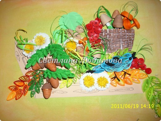 Картина панно рисунок Квиллинг Урожай Бумажные полосы фото 1