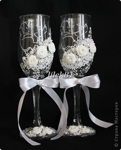Подруга попросила сделать бокалы , у нее свой свадебный салон. Вот, что из этого получилось. фото 2