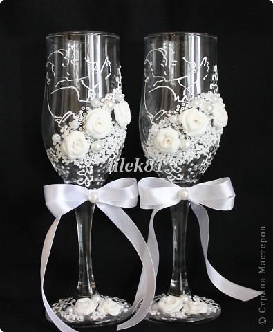 Подруга попросила сделать бокалы , у нее свой свадебный салон. Вот, что из этого получилось. фото 3