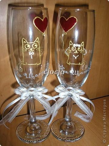 Вот такие бокальчики сделала в подарок на свадьбу знакомым мужа, испытание прошли успешно чему я очень рада. фото 2