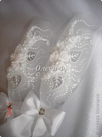 """Свадебные бокалы""""Белый букет""""  фото 4"""