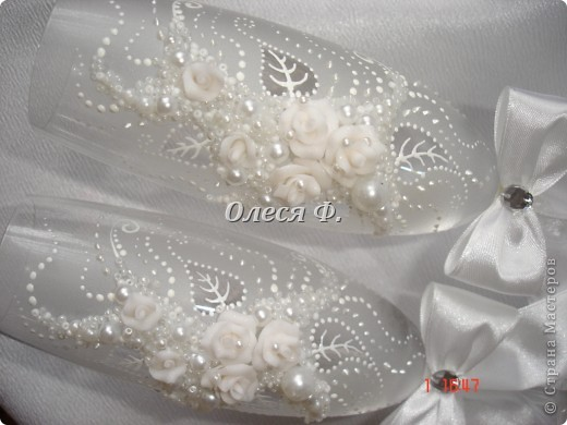 """Свадебные бокалы""""Белый букет""""  фото 5"""
