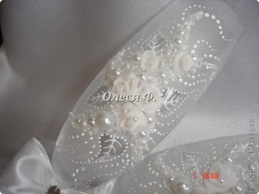 """Свадебные бокалы""""Белый букет""""  фото 2"""