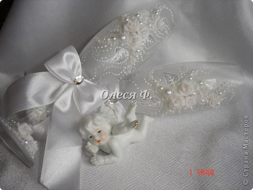 """Свадебные бокалы""""Белый букет""""  фото 6"""