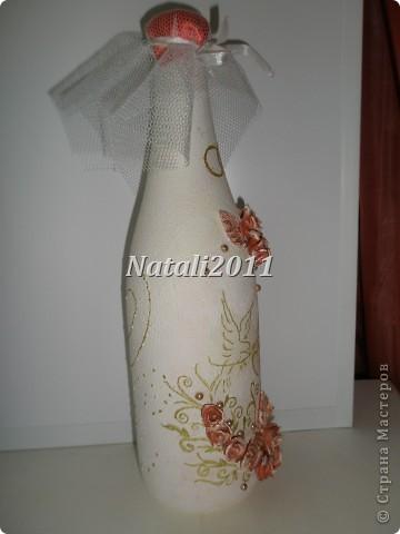 Здравствуйте дорогие мастерицы! Вот и я решила попробовать себя в оформление свадебных бутылочек! Получились у меня вот такие невесты. фото 4