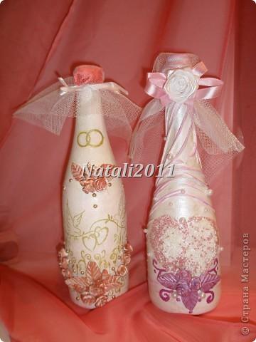 Здравствуйте дорогие мастерицы! Вот и я решила попробовать себя в оформление свадебных бутылочек! Получились у меня вот такие невесты. фото 1
